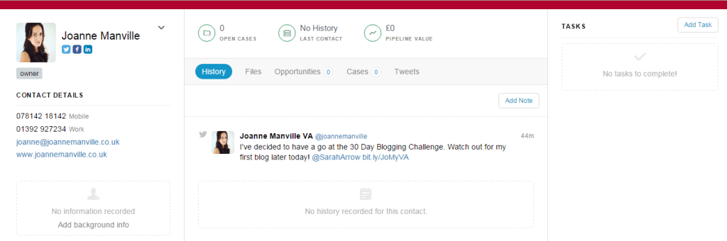Screen shot of the contacts page of Capsule CRM