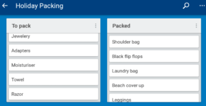 Picture of my holiday packing lists in the Trello app